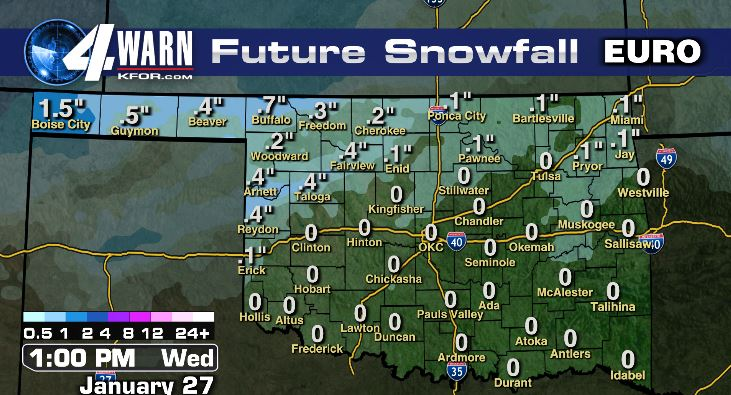 Light snow accumulations in northern Oklahoma Tuesday night through early Wednesday