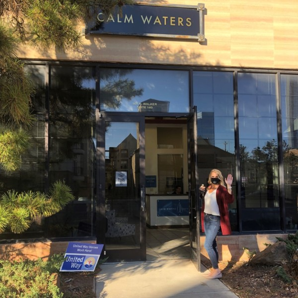 Erin Engelke, Executive Director, welcome visitors at the front entrance of Calm Waters' new location at 501 N. Walker, Suite 140, OKC, OK 73102.