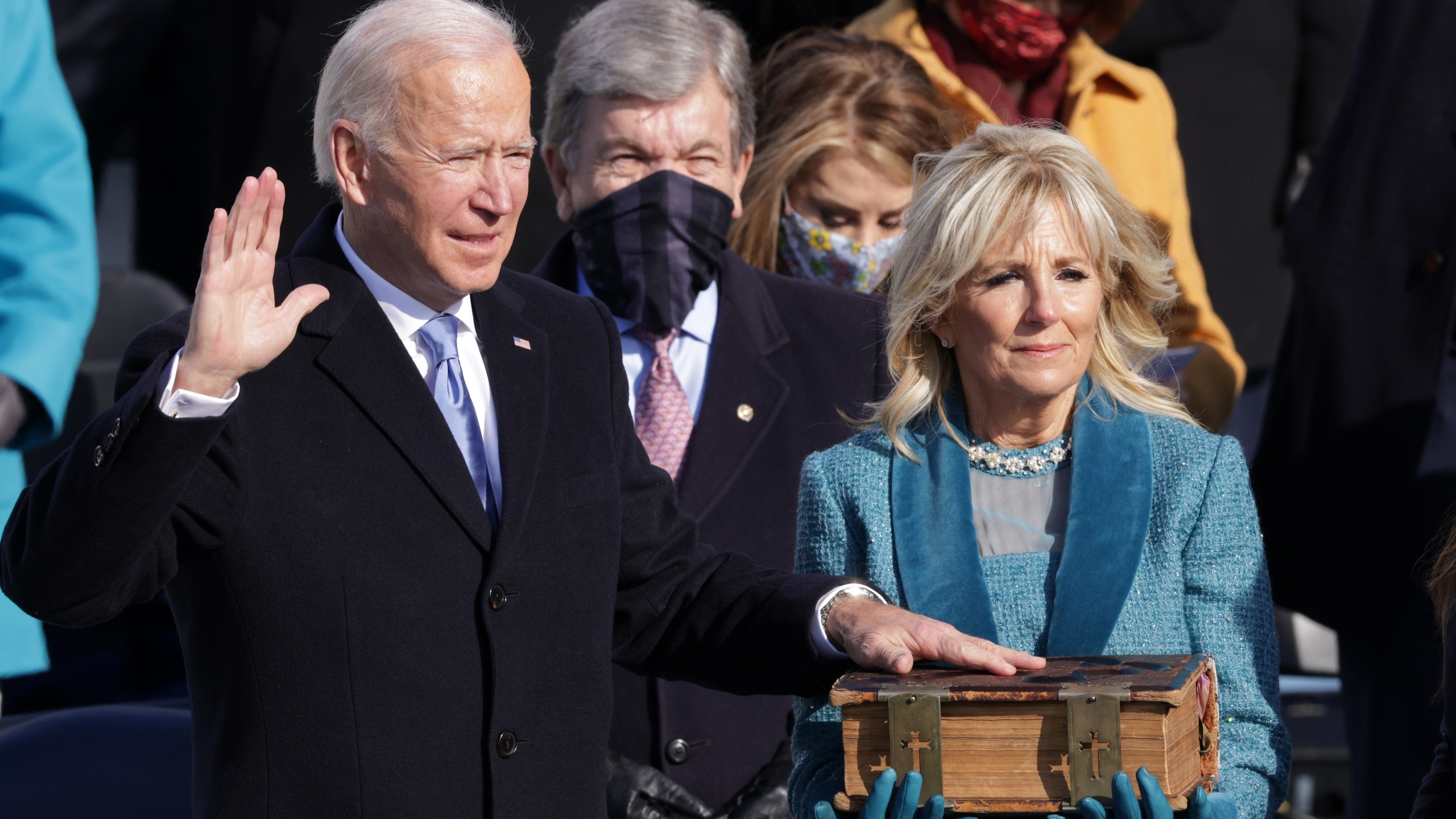 WASHINGTON, DC - JANUARY 20: Joe Biden is sworn in as U.S. President during his inauguration on the West Front of the U.S. Capitol on January 20, 2021 in Washington, DC. During today's inauguration ceremony Joe Biden becomes the 46th president of the United States. (Photo by Alex Wong/Getty Images)
