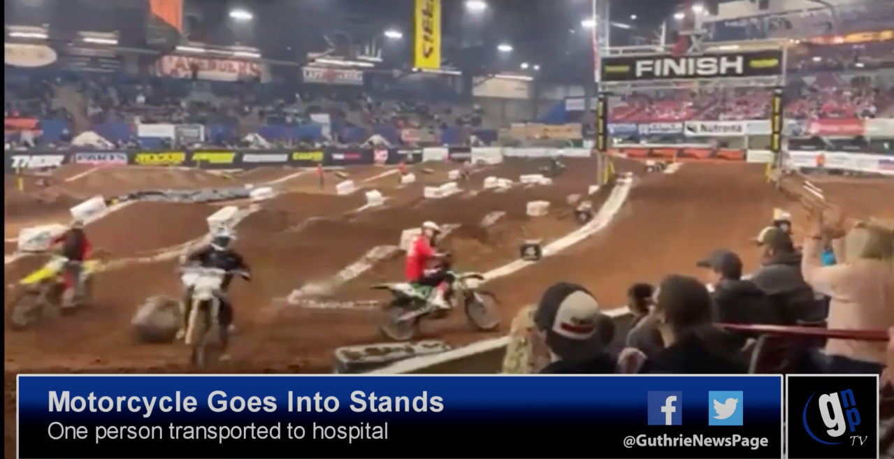 WATCH: Motorcycle flies into stands at Lazy E Arena