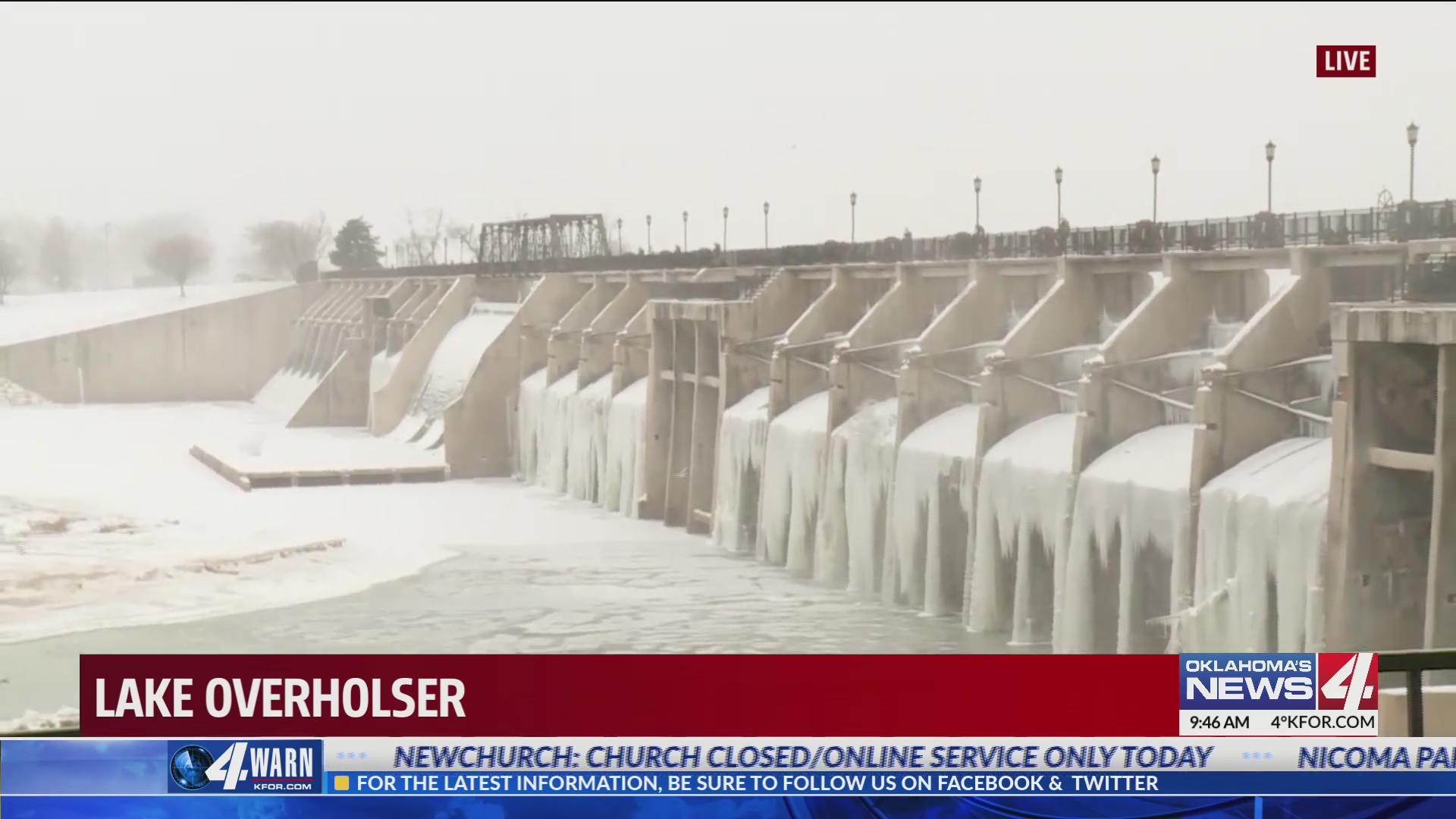 Lake Overholser Dam frozen