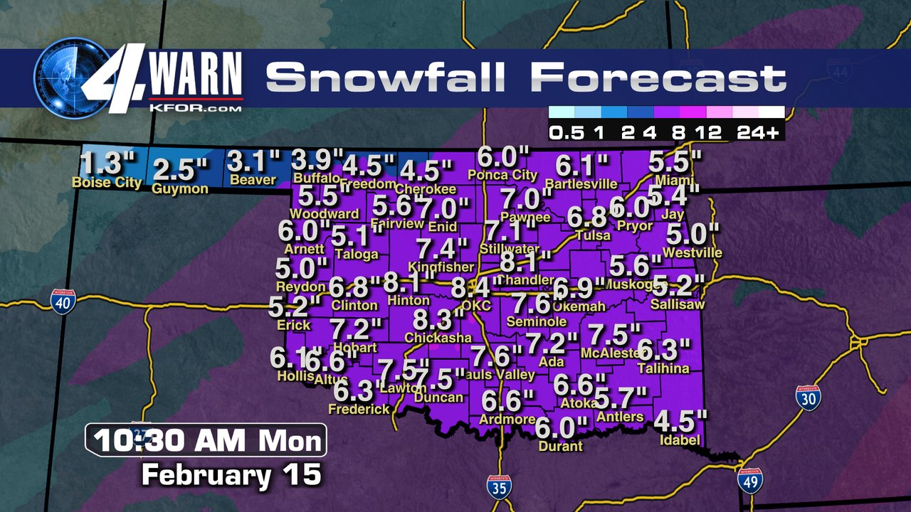 Here Is The Latest Total Snowfall Forecast Amounts Ending Monday Morning Kfor Com Oklahoma City