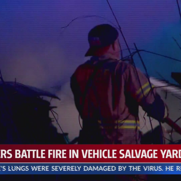 Fire at vehicle salvage yard