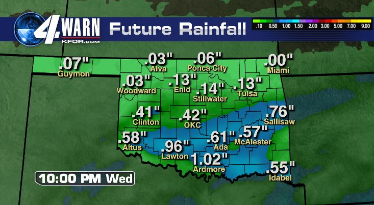 Forecast Rain Totals Through Wednesday