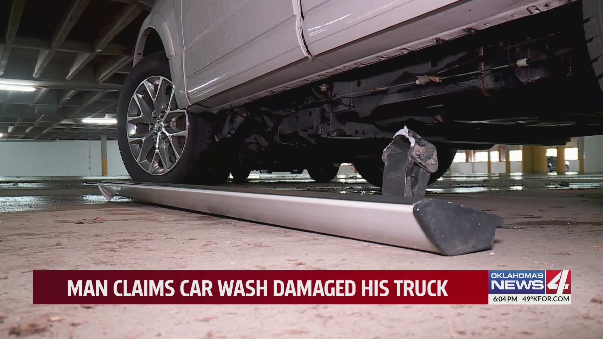 Foot board ripped off vehicle at car wash