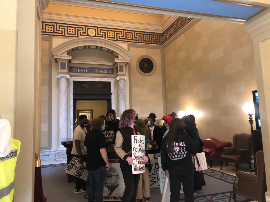 image of protestors at oklahoma capitol