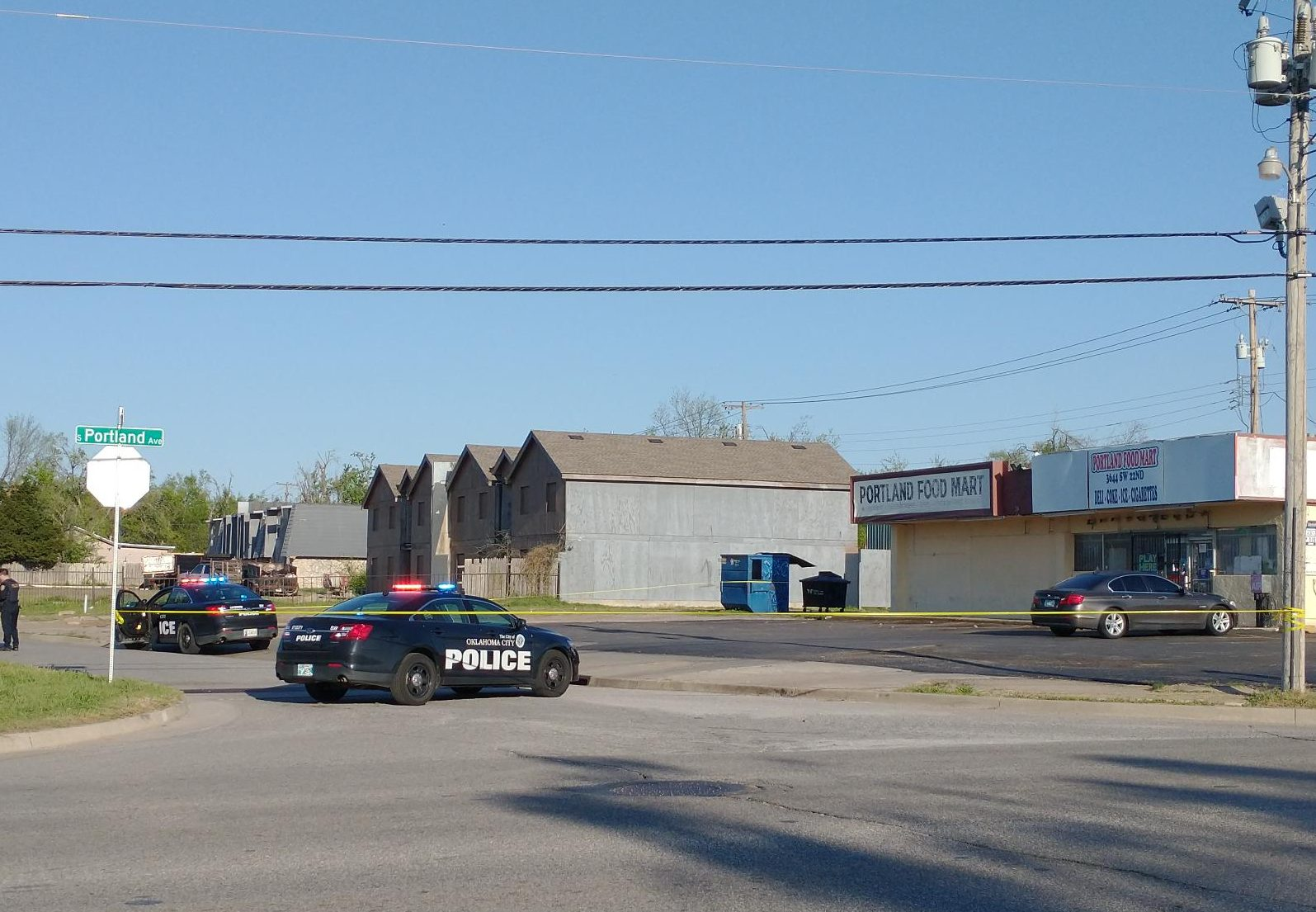 Oklahoma City Police at the scene of a shooting that left a man in critical condition Sunday evening in SW OKC. April 18, 2021. (KFOR