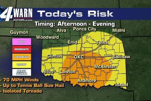 severe weather risk map showing Oklahoma