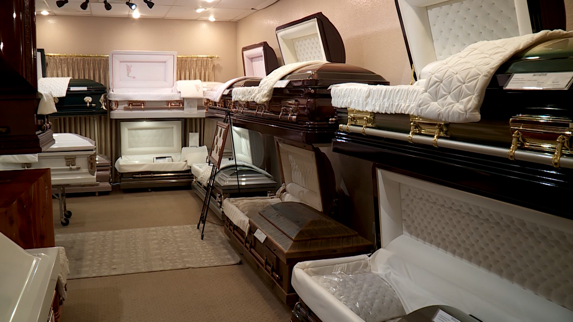 caskets in funeral home
