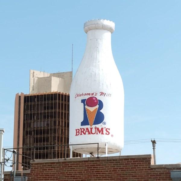 Braum's milk bottle in Oklahoma City on Route 66