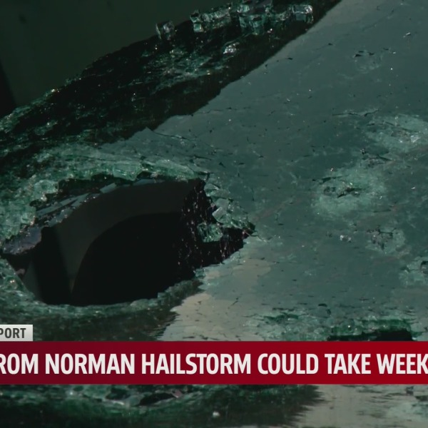 A huge hole cause by hail.