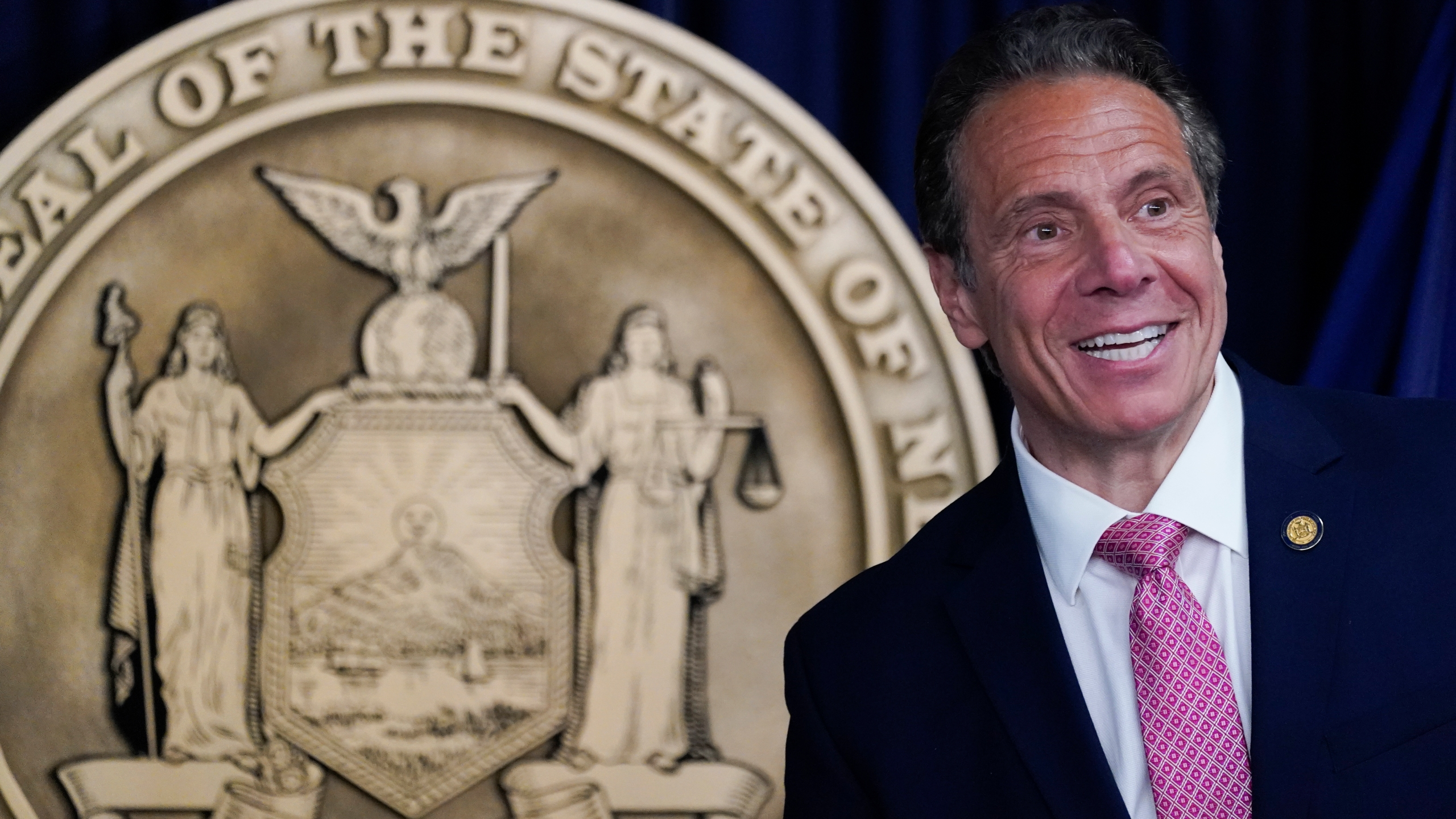 New York Gov. Andrew Cuomo speaks during a news conference, Monday, May 10, 2021 in New York. (AP Photo/Mary Altaffer, Pool)