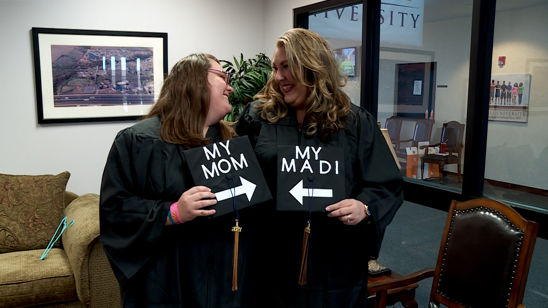 Madison and Audra Aldridge graduate together from Randall University in Moore, Oklahoma