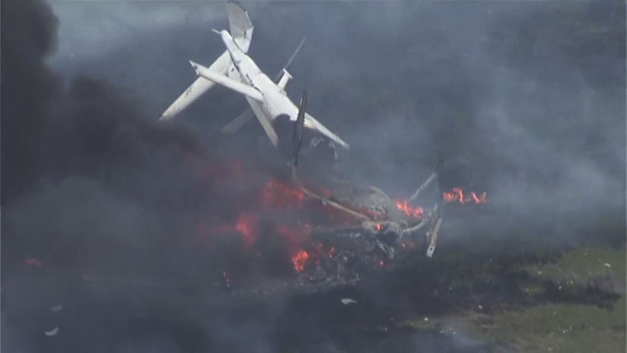 Image of a chopper crash and fire