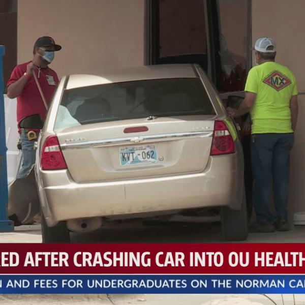 Car slams into OU Health campus