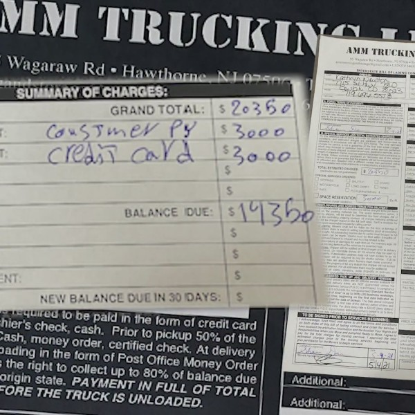 moving bill from AMM Trucking