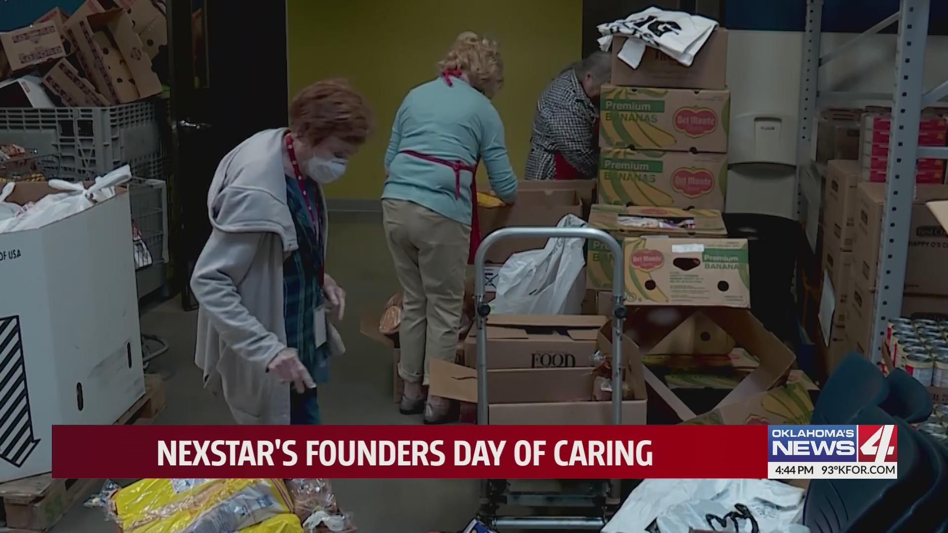 Volunteers work to distribute food at food bank