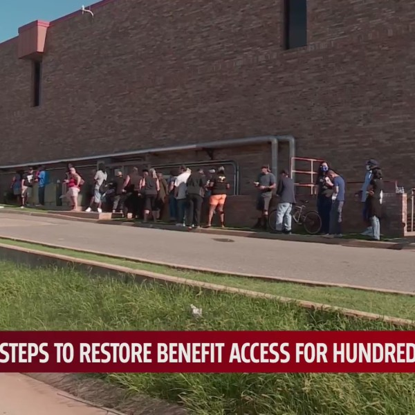 Oklahomans line up outside OESC office after unemployment debit cards disabled