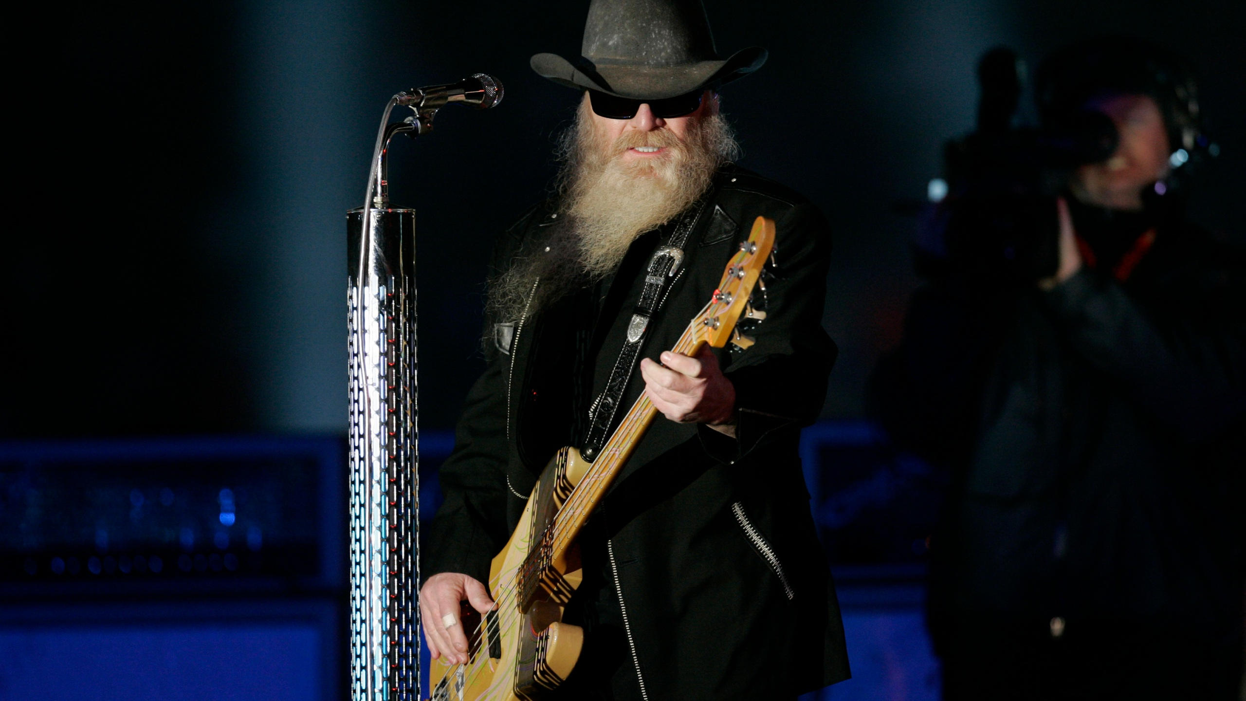 ZZ Tops' Dusty Hill performs at half time ceremonies in Orange Bowl events