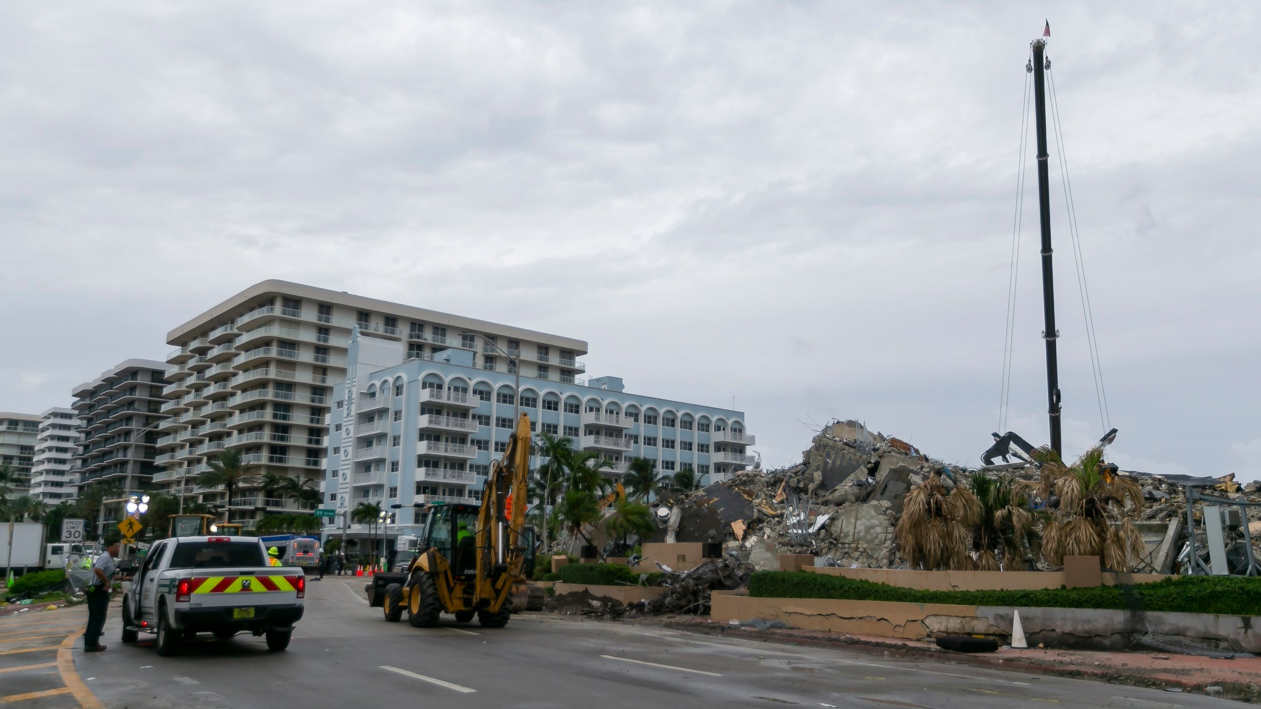 Rubble and debris of the Champlain Towers South condo