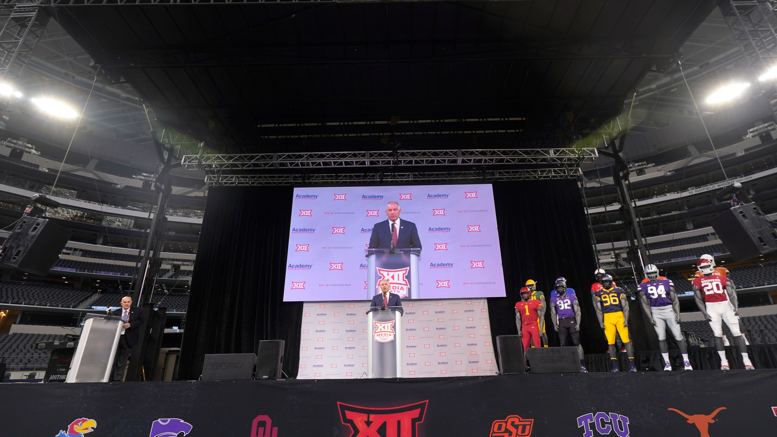 Big 12 commissioner Bob Bowlsby, center, speaks during NCAA college football Big 12 media days