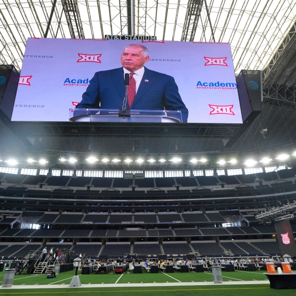 Big 12 commissioner Bob Bowlsby is shown on the giant screen as he speaks during NCAA college football Big 12 media days