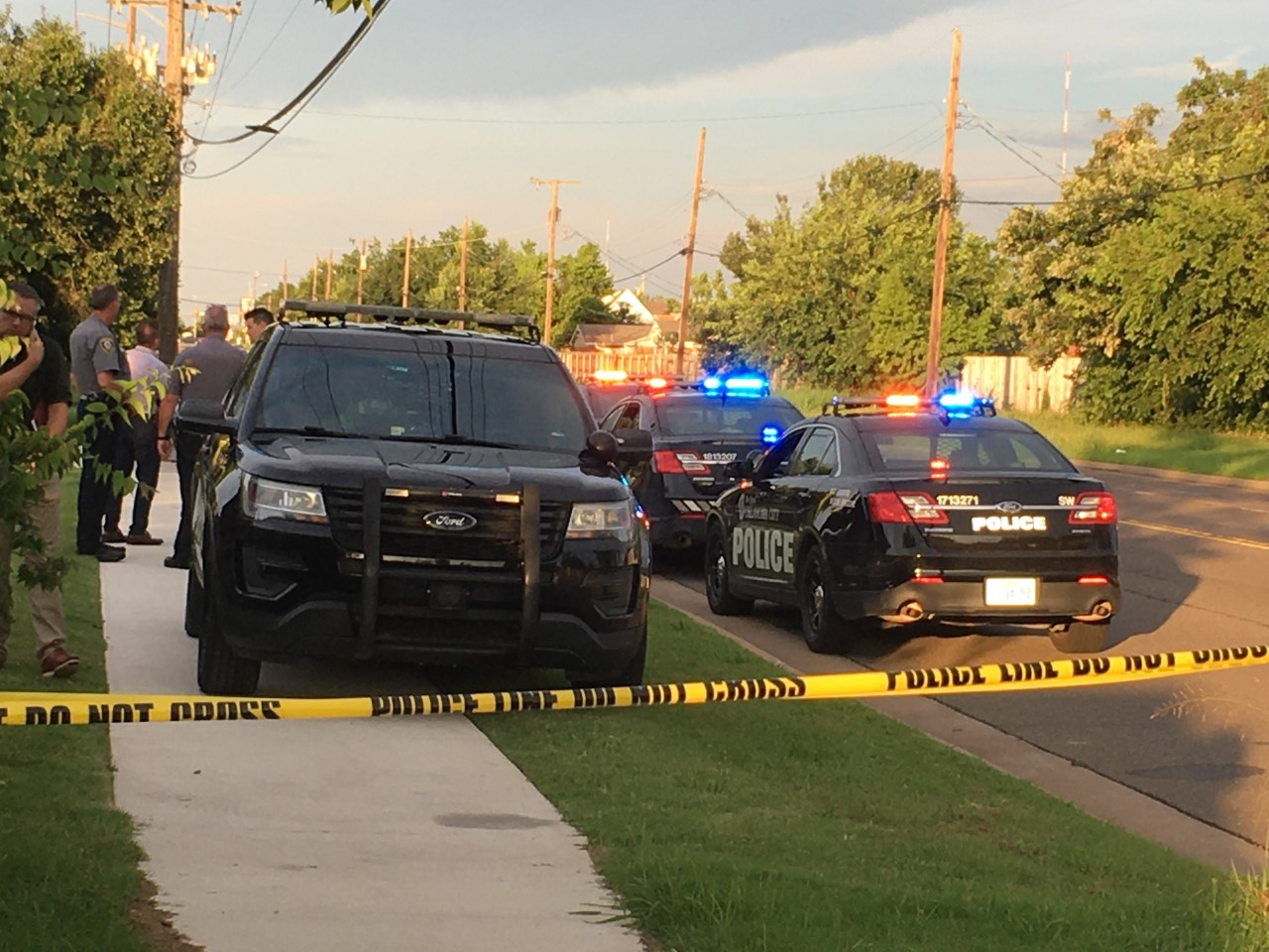 Oklahoma City police at the scene of a double homicide.