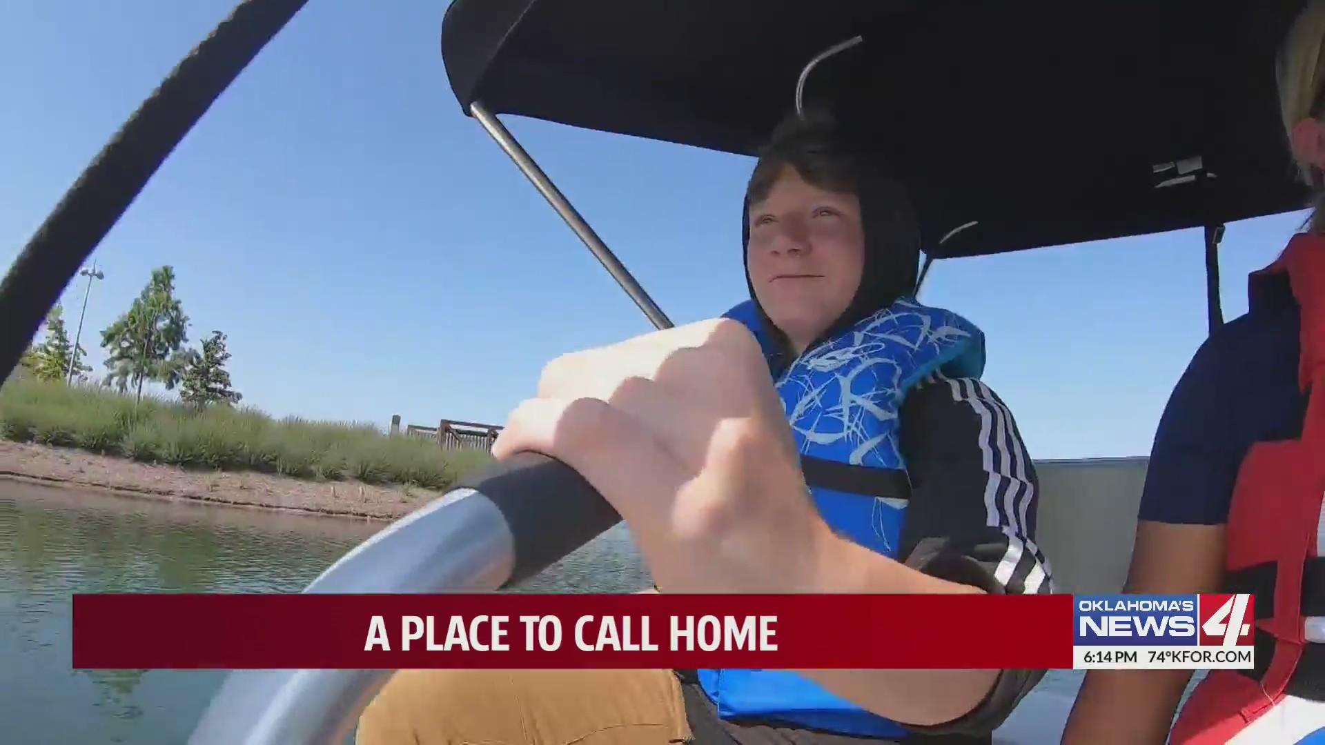 14-year-old Parker navigating paddle boat