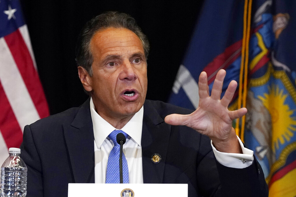 FILE - New York Gov. Andrew Cuomo speaks during a news conference at New York's Yankee Stadium, Monday, July 26, 2021. (AP Photo/Richard Drew, File)