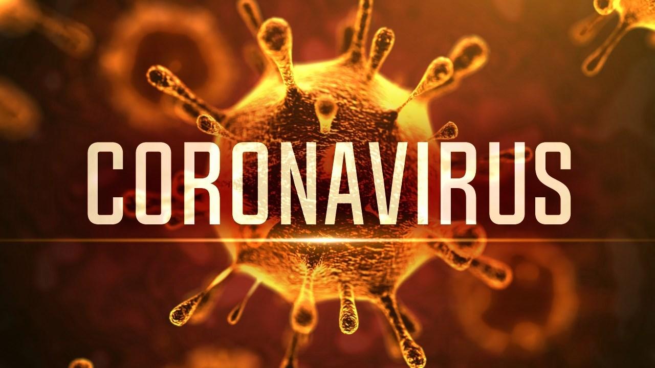 The word Coronavirus over a Coronavirus molecule