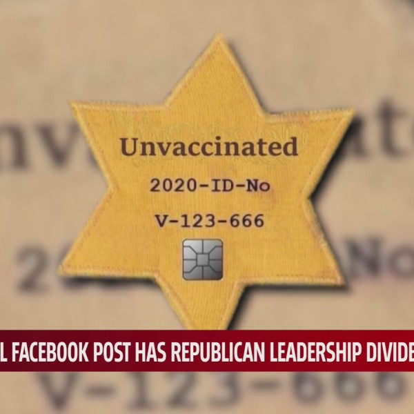 Graphic by OKGOP that likens unvaccinated people to Jewish victims of the Holocaust