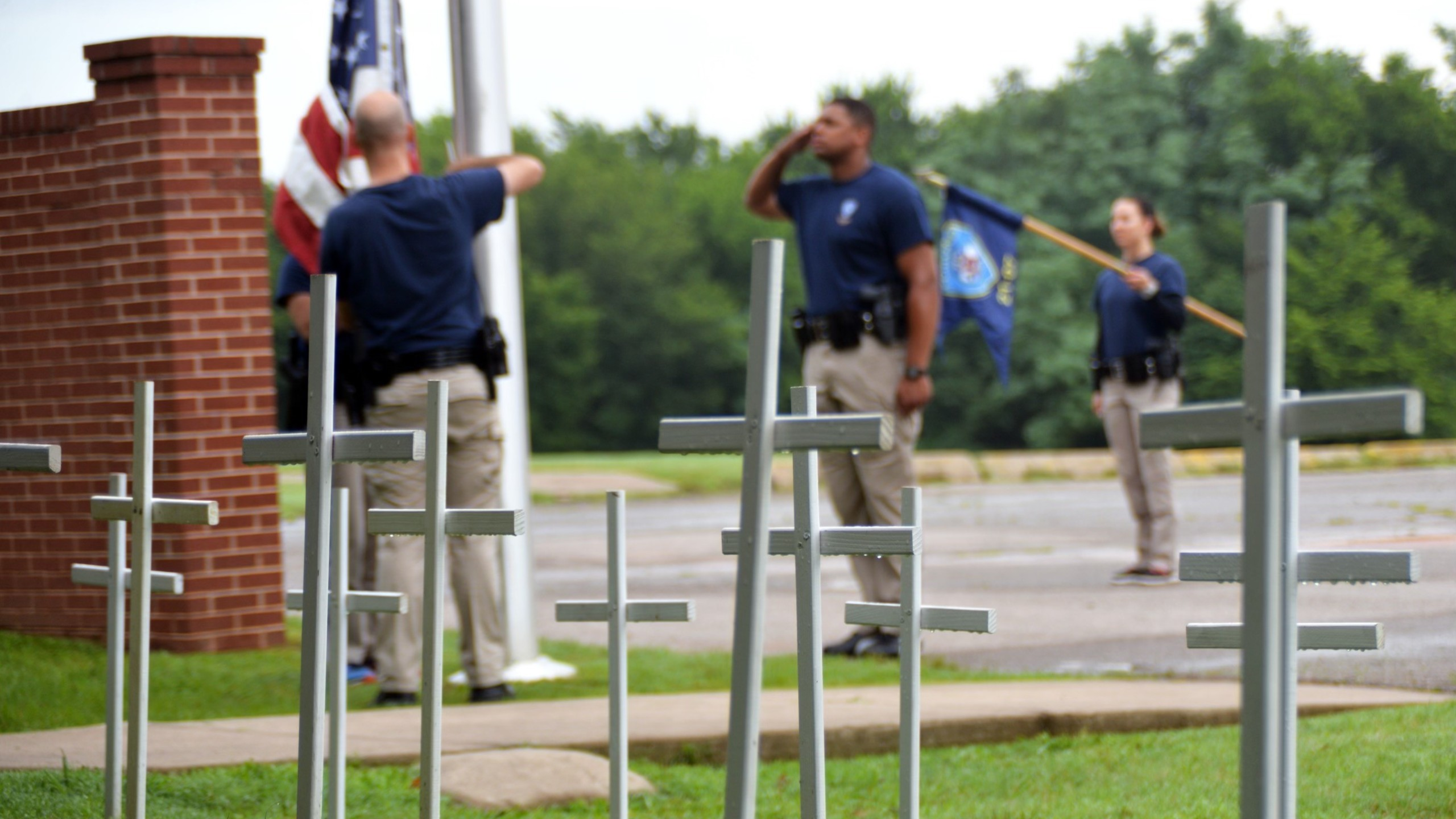 image of crosses outside edmond police academy
