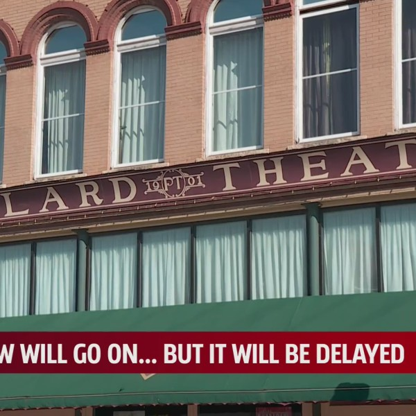 Sign for the historic Pollard Theatre in Guthrie