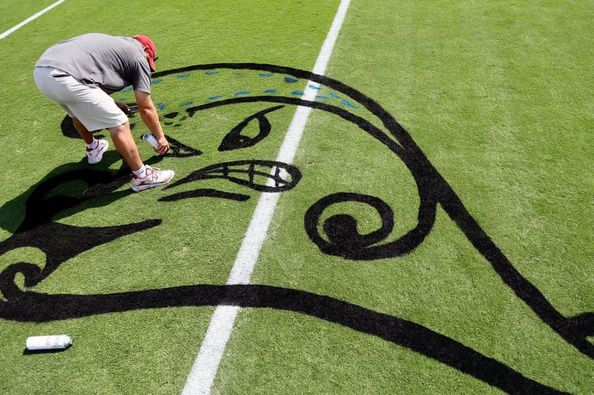 Tulane's Green Wave spray painted onto OU's Owen Field