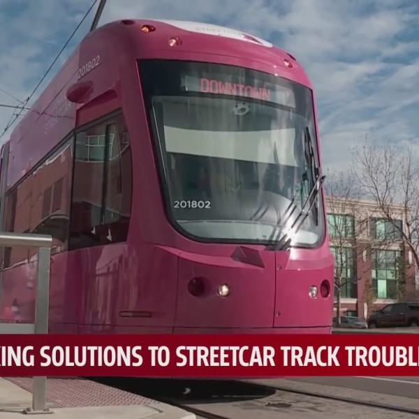 Oklahoma City streetcar approaches passenger stop