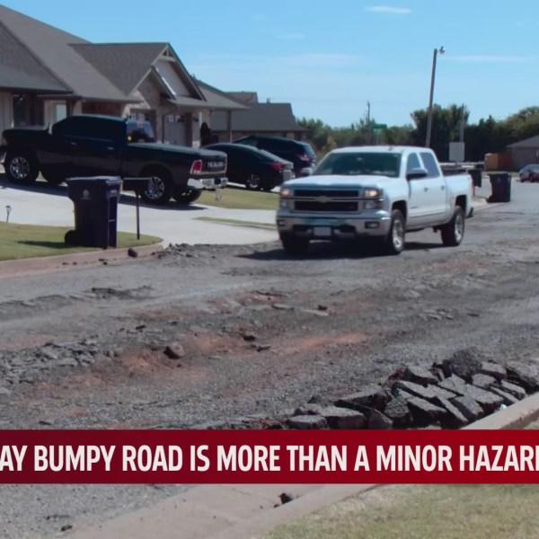 Damaged road in the Summit Ridge neighborhood