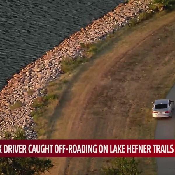 Chopper 4 footage shows suspect driving on Lake Hefner walking trails