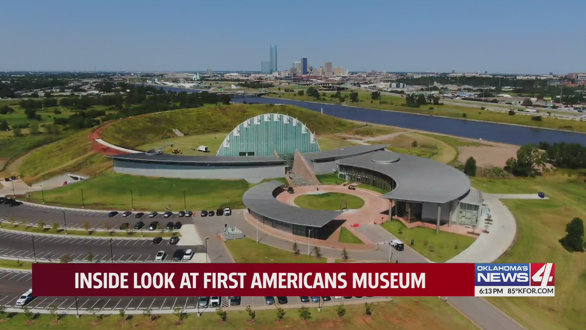 Aerial shot of the First Americans Museum at I-35 and I-40 in Oklahoma City