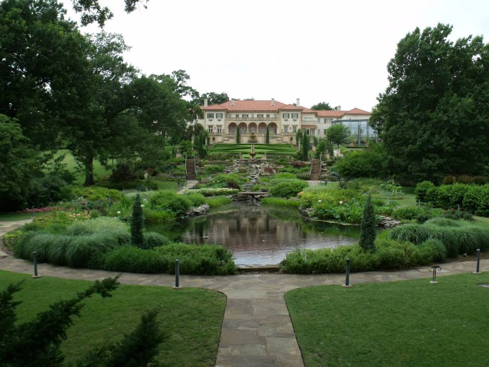 The gardens behind the Philbrook Museum looking up to the house