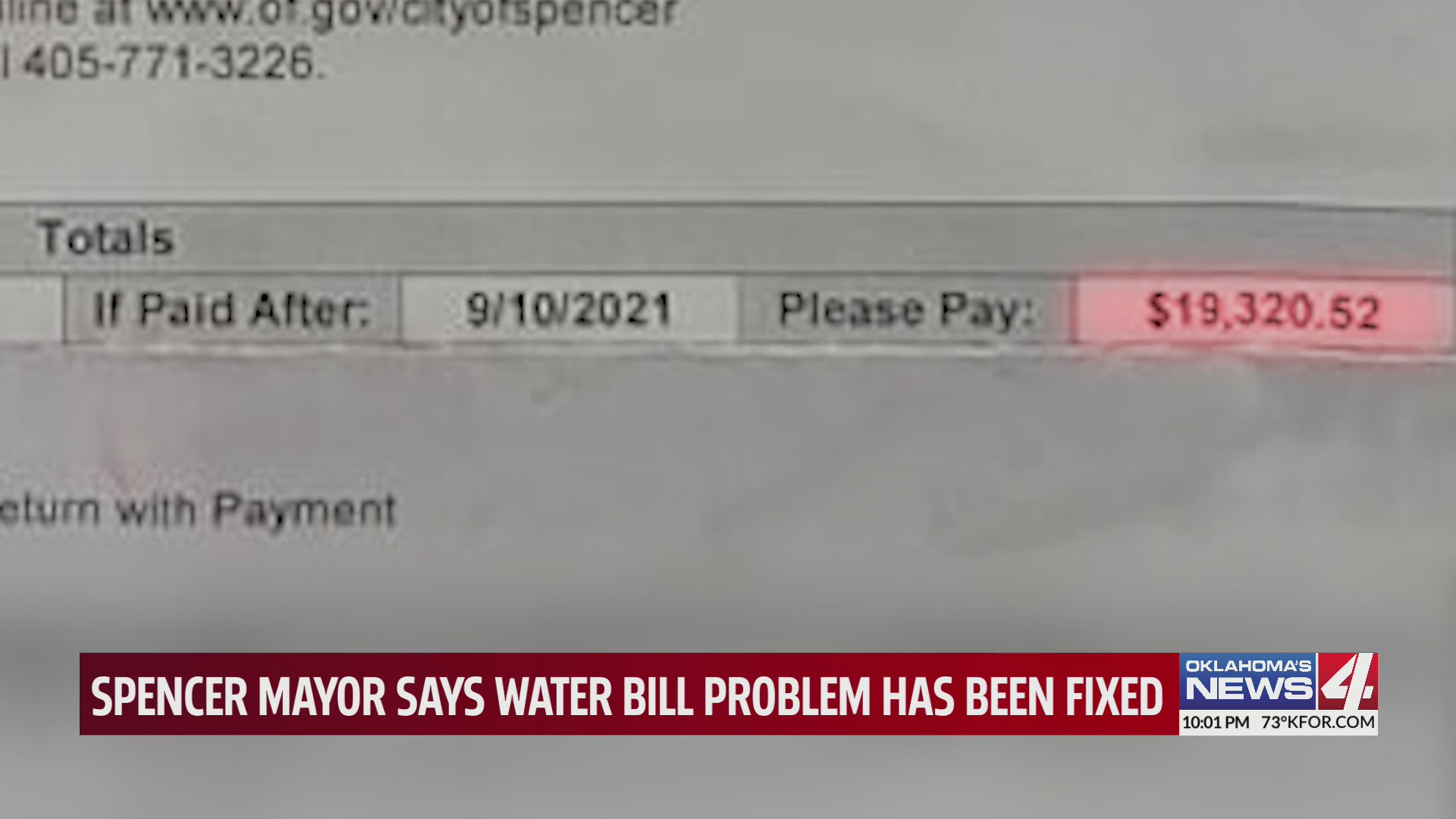 Total for Spencer water bill equaling over $19,000