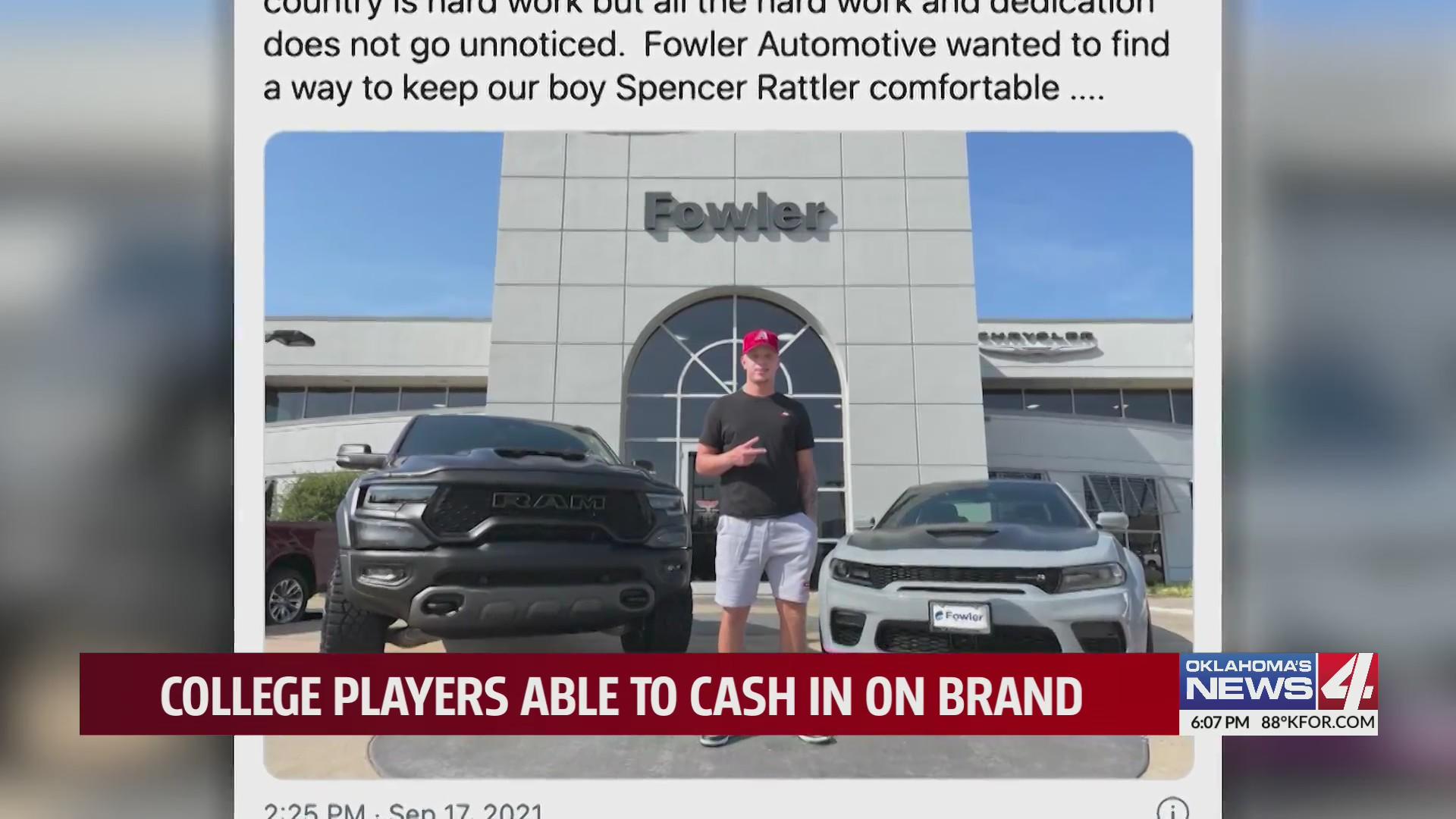 Social media post shows college athlete promoting Fowler Honda