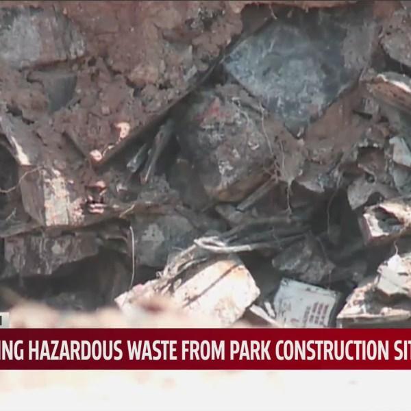 Hazardous waste at Scissortail park south construction site