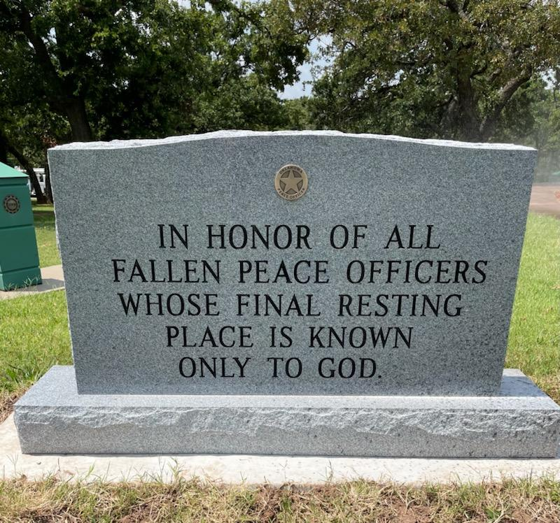 Unknown grave marker for fallen officers
