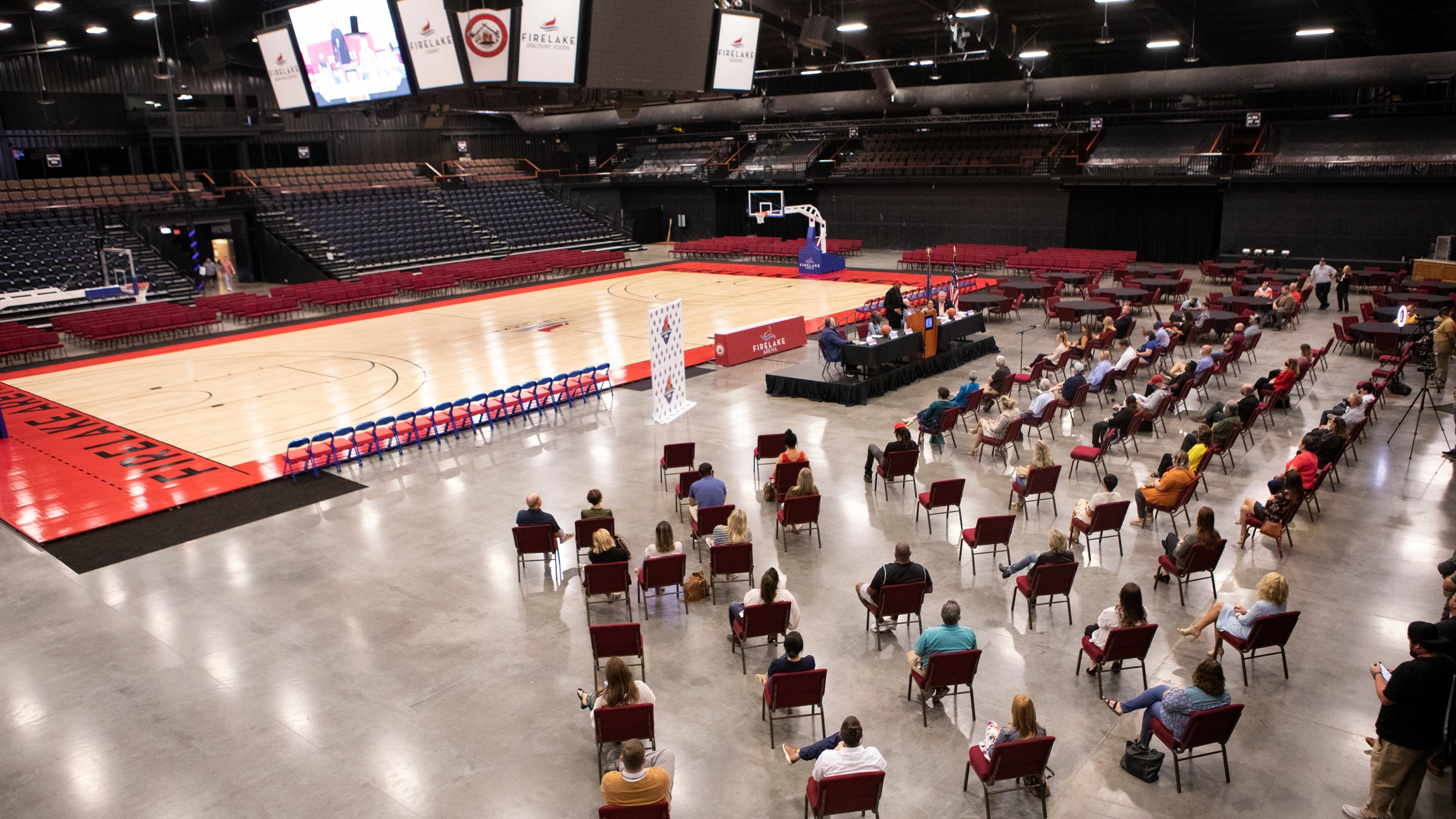 Press conference announcing the Potawatomi Fire basketball team at FireLake Arena in Shawnee, Okla., Wednesday, Sept. 29, 2021.