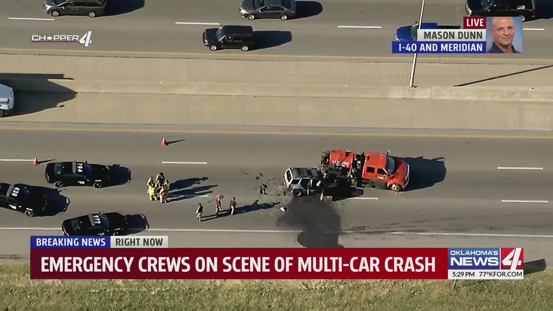 Fatality collision at westbound I-40 and meridian