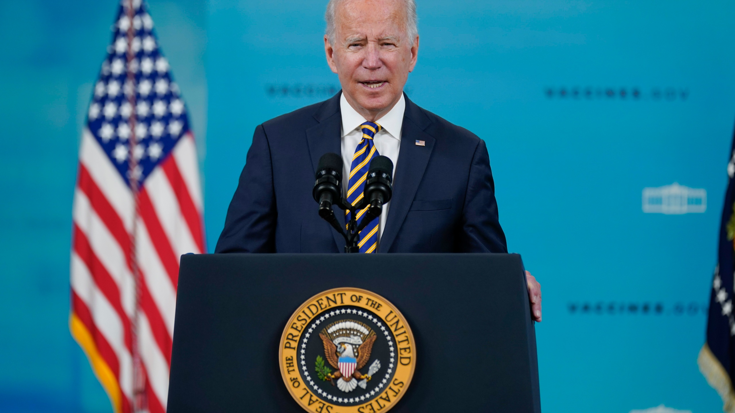 President Joe Biden delivers an update on the COVID-19 response and vaccination program, in the South Court Auditorium on the White House campus, Thursday, Oct. 14, 2021
