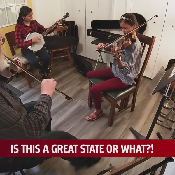 Wayne Cantwell teaches folk music to the next generation of banjoers and fiddlers