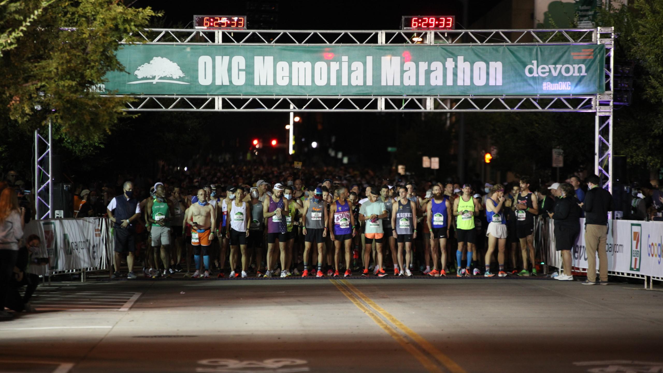 Start line of the Oklahoma City Memorial Marathon 2021