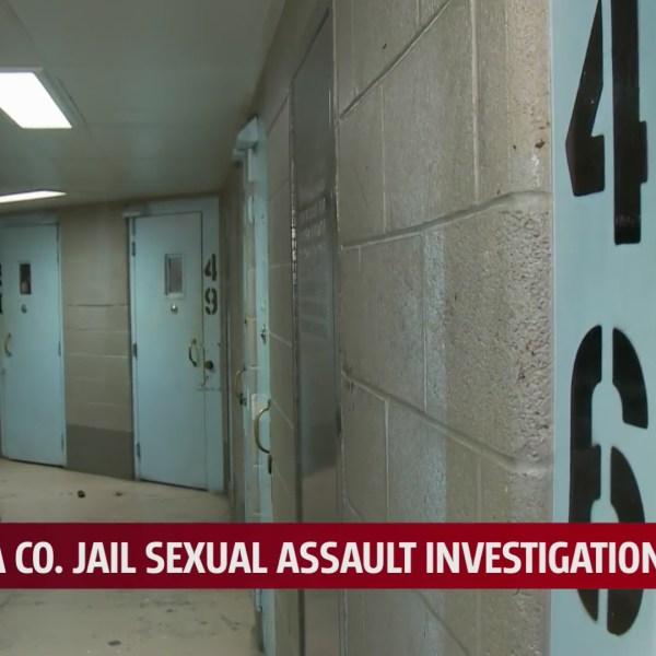 Hallway of cell doors inside the Oklahoma County Jail