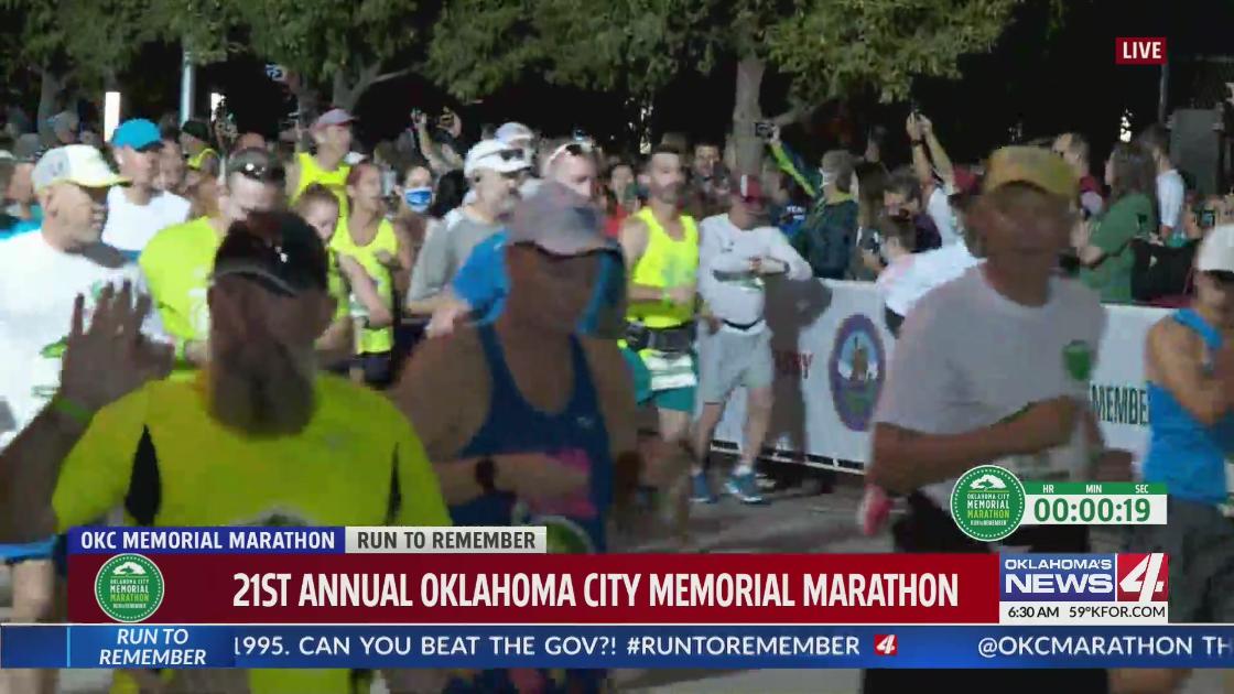 Race begins at the Oklahoma City Memorial Marathon 2021